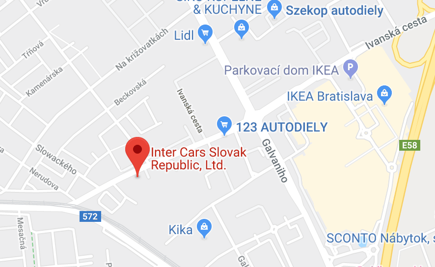 Inter Cars Slovenská republika na mape